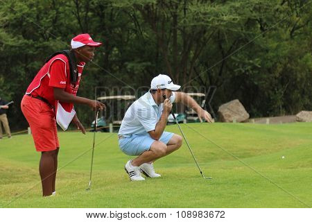 Mens Pro Golfer Richard Sterne Sizing Up His Put On November 2015 In South Africa