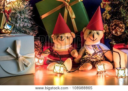 Ornament Christmas decorate at Merry Christmas night light. Christmas tree and other decoration with