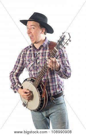 Man Playing The Banjo