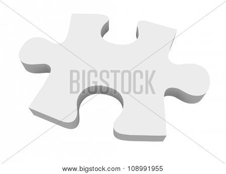 A final white puzzle piece needed to finish or complete a picture or solve a problem poster