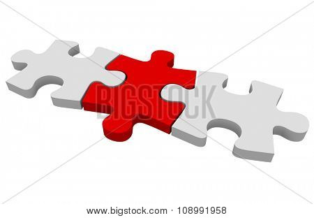 Red puzzle piece connecting a picture together or solving a problem poster
