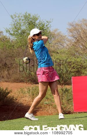 Ladies Pro Golfer Emma Cambrera-bello Teeing Off November 2015 In South Africa