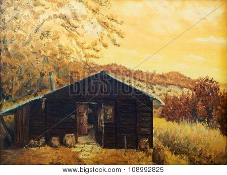 wooden cabin in a forest in the mountains, painting sepia effect, retro effect