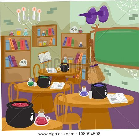 Illustration of a Classroom for Witches Complete with All Sorts of Witchcraft Tools poster