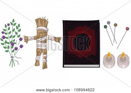 Group Illustration of Elements Associated with Voodoo
