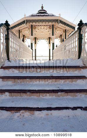 Bandstand Winter Snow Brighton Architecture