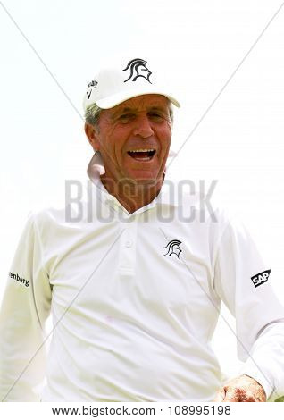 Tournament Presenter And Grand Master Gary Player Laughing Through The Second 18 At 80 Years On Nove