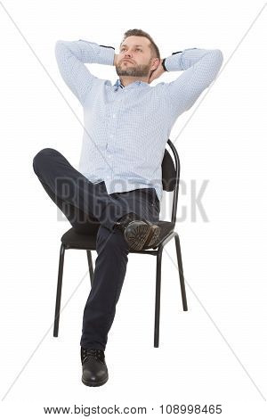man sitting on chair. open posture, greater influence. Isolated white background.