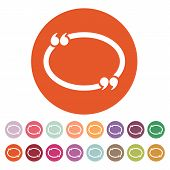 The Quotation Mark Speech Bubble icon. Quotes, citation, opinion symbol. Flat Vector illustration Button Set poster