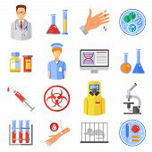 Microbiology icons set with research experiments and bio weapon symbols flat isolated vector illustration poster