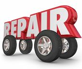 Repair word in 3d letters with wheels and tires on it to illustrate fixing a car, truck or automobile poster