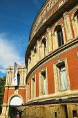 The Royal Albert Hall, Kensington, London, England, built 1867-71 to commemorate the death of Queen Victoria's beloved consort Prince Albert. It is the leading opera and classical music venue in The UK and is the home of the Proms poster