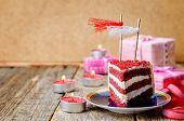 Red velvet cake for Valentines day on wooden background poster