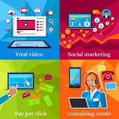 Social marketing, consulting center concept. Pay per click, viral video, online technology, service communication, support call, consultant internet operator illustration poster