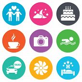 Hotel, apartment service icons. Swimming pool. Ventilation, birthday party and gay-friendly symbols. Flat circle buttons. Vector poster