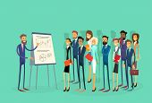 Business People Group Presentation Flip Chart Finance, Businesspeople Team Training Conference Meeting Flat Vector Illustration poster