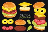 Isolated vector burgers with pineapple burgers ingredients. Burger on a black background. Elements for design burger menus and graphic elements. poster