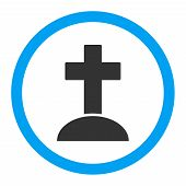 Grave glyph icon. Style is flat rounded symbol, bright colors, rounded angles, white background. poster