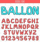Font ballon. Set volume of letters and numbers in the doodle. Letters drawn by hand. Children's font. Font for a festive design. Beautiful color sketch cartoon set of letters. Pink stylish Font poster
