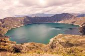 Quilotoa Volcanic Crater In The Andean Mountains National Park Cotopaxi poster