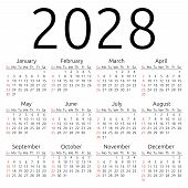 Simple 2028 year calendar week starts on Sunday EPS 8 vector poster