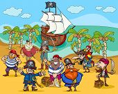 Cartoon Illustrations of Fantasy Pirate Characters on Treasure Island poster