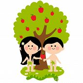 Vector Illustration of Adam, Eve and the snake under an apple tree. Eve giving apple to Adam. poster