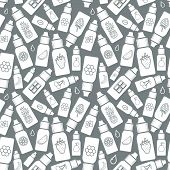 Vector seamless pattern of different flavor. The taste of the electronic cigarette pattern of E-Liquid. poster
