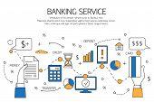 Banking service outline concept,  deposit, credit, money transfer. Vector illustration. poster