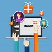 bonus employee reward  benefits promotion offer vector poster