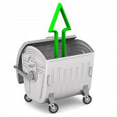 Open garbage container on wheels standing on the white surface with a green arrow pointing to upwards. The three-dimensional illustration poster