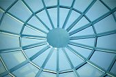 contemporary blue glass ceiling inside business office center poster