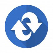 rotation blue web flat design icon on white background  poster