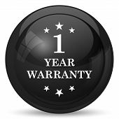 1 year warranty icon. Internet button on white background. poster