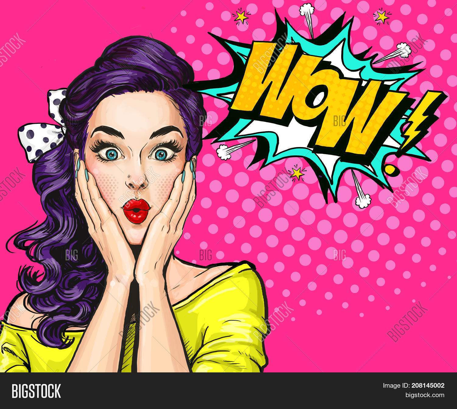 Pop art illustration surprised girl comic woman wow advertising poster pop