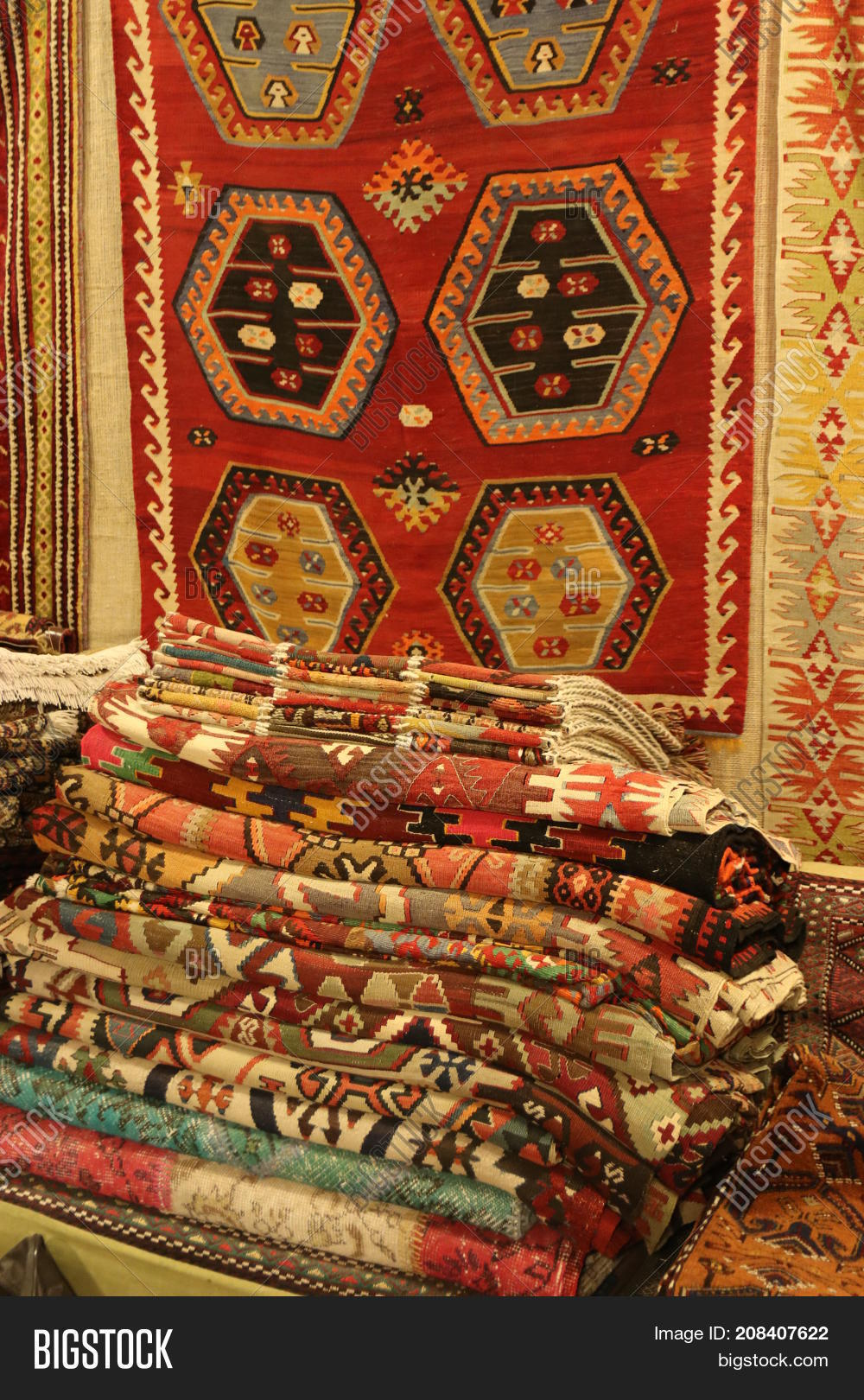 FETHIYE TURKEY 31ST MAY 2017Carpets And Rugs From A Traditional Turkish Carpet