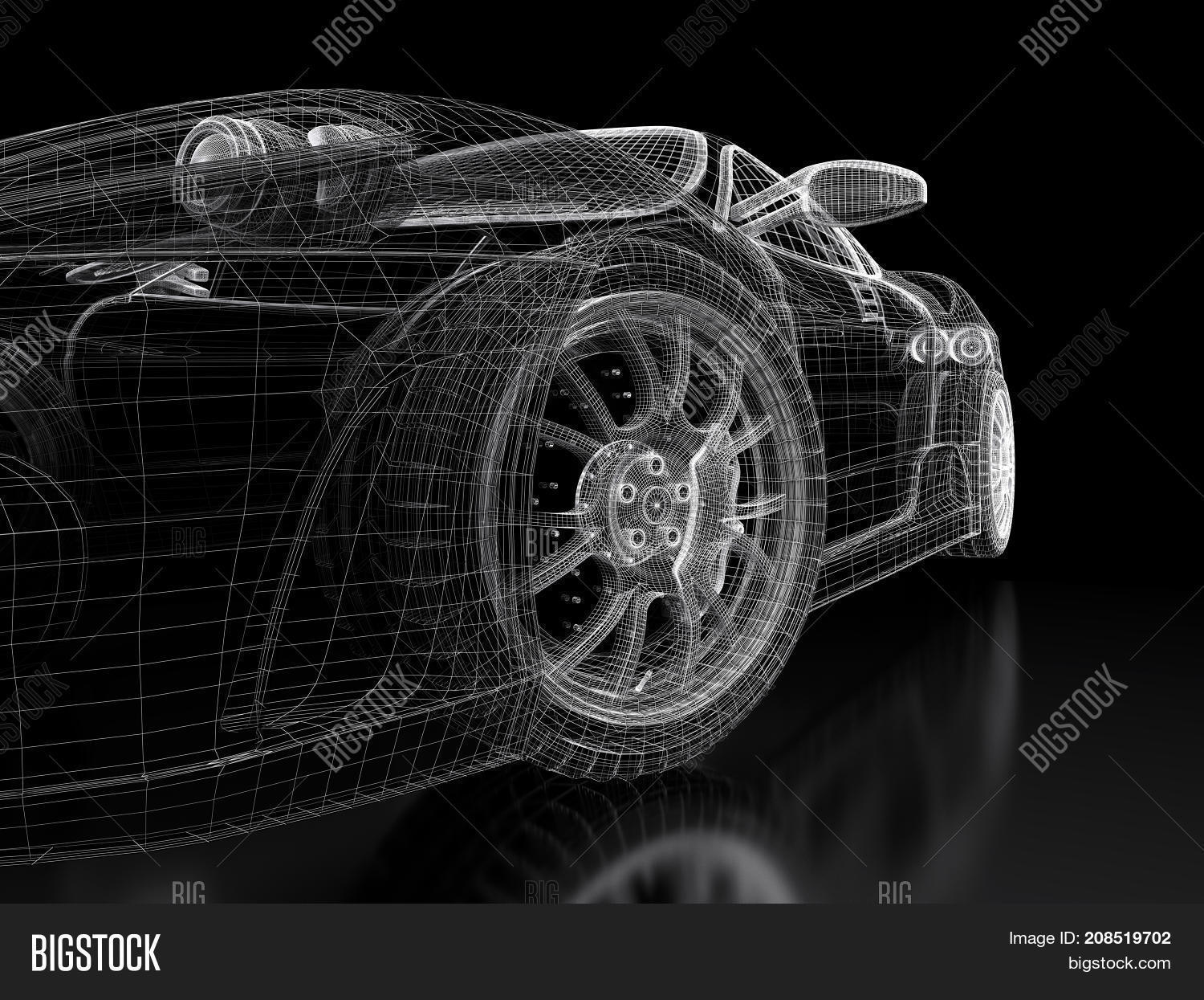 Car vehicle 3d image photo free trial bigstock car vehicle 3d blueprint mesh model on a black background 3d rendered image malvernweather Gallery