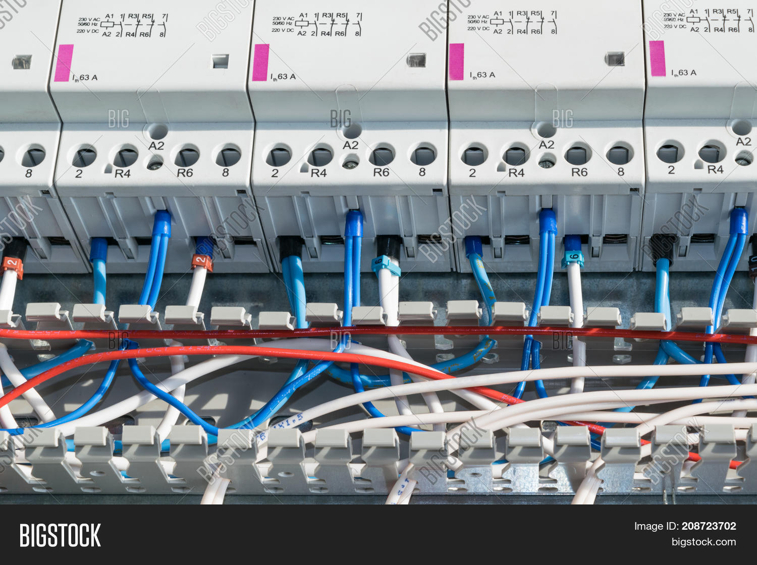 Number Modular Image Photo Free Trial Bigstock 230 Vac Wiring A Of Contactors Cable Channel And Wire Laid In The