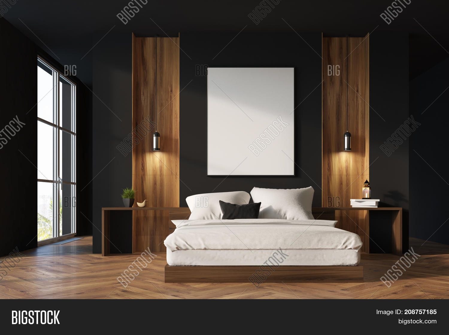Black Wooden Bedroom Image Photo Free Trial Bigstock