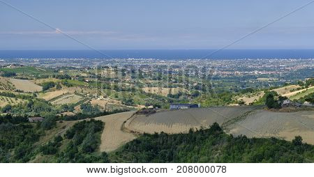 Country landscape in Romagna (Italy) from Sogliano al Rubicone at summer. View of the sea.