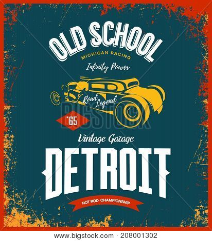 Vintage hot rod vector logo isolated on dark background.  Premium quality old sport car logotype t-shirt emblem illustration. Detroit, Michigan street wear superior retro tee print design.