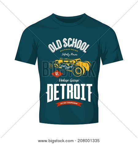 Vintage hot rod vector logo isolated on dark t-shirt mock up.  Premium quality old sport car logotype emblem illustration. Detroit, Michigan street wear superior retro tee print design.