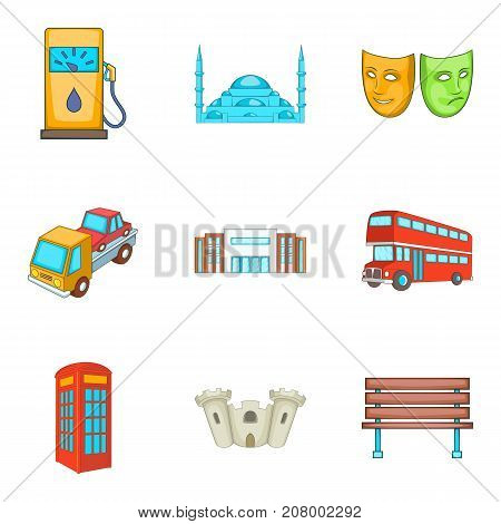 Excursion icons set. Cartoon set of 9 excursion vector icons for web isolated on white background