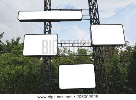 Blank billboard made of metal ready for advertisement. Empty digital billboard screen.