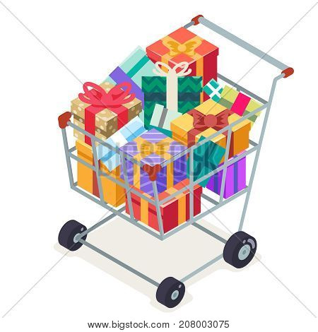Isometric 3d shopping cart purchase goods gift isolated object icon design flat vector illustration