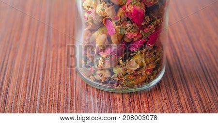 Herbal tea jar. Herbs and flowers, herbal medicine.
