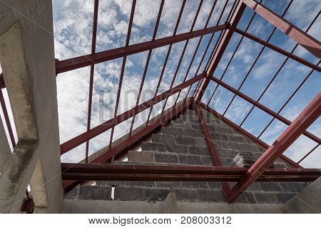 Structural steel roof beam of building residential construction.