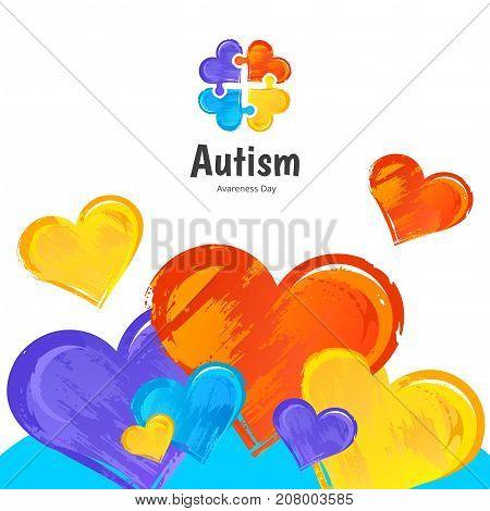 Autism Awareness Day. Illustration on white background.