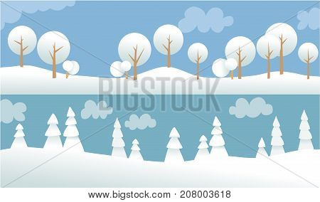 Two winter banners with white trees - vector illustration