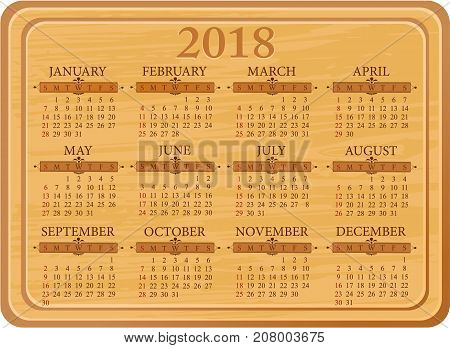 Wooden kitchen calendar for 2018 year - vector illustration